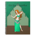 Pretty Auburn Haired Belly Dancer in Green Notebooks