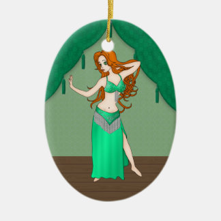 Pretty Auburn Haired Belly Dancer in Green Christmas Tree Ornaments