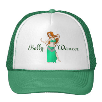 Pretty Auburn Haired Belly Dancer in Green Trucker Hat