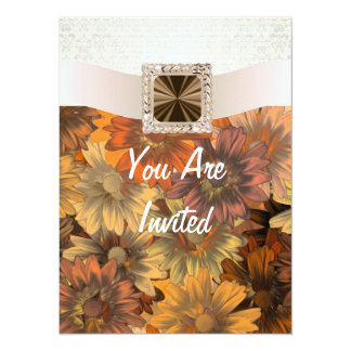 Pretty Autumn floral & cream damask Card