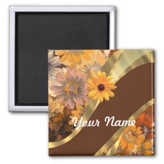 Pretty autumn floral pattern 2 inch square magnet