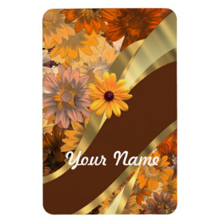 Pretty autumn floral pattern rectangular photo magnet