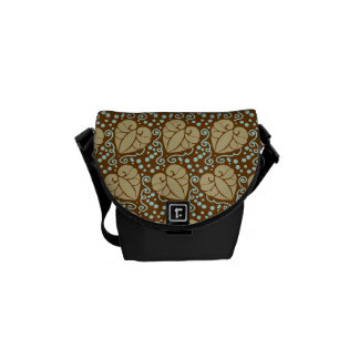 Pretty Autumn Leafs with Scroll Pattern Messenger Bag