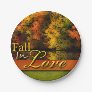 Pretty Autumn Wedding Fall In Love Foliage Photo Paper Plate