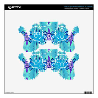 Pretty Azure Blue Lilac Girly Pattern Decal For PS3 Controller