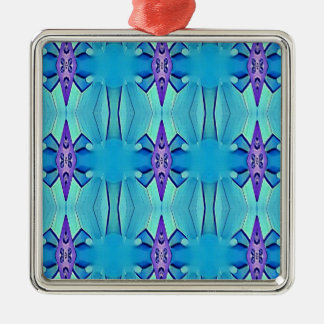 Pretty Azure Blue Lilac Girly Pattern Metal Ornament
