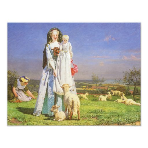 Pretty Baa Lambs by Ford Madox Brown 4.25x5.5 Paper Invitation Card