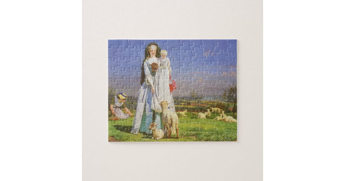 Pretty Baa Lambs By Ford Madox Brown Jigsaw Puzzle Zazzle Com