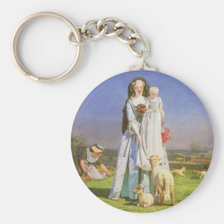 Pretty Baa Lambs by Ford Madox Brown Keychain
