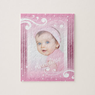 Pretty Baby Girl Photo with Name Jigsaw Puzzle