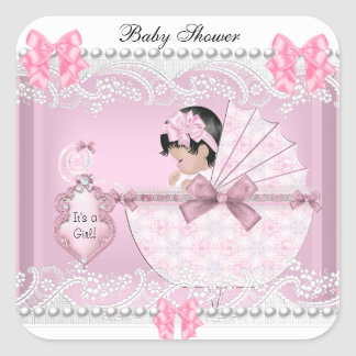 Pretty Baby Shower Cute Baby Girl Pink Lace Square Sticker