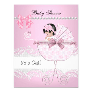 Pretty Baby Shower Cute Baby Girl Pink Vintage 4.25x5.5 Paper Invitation Card