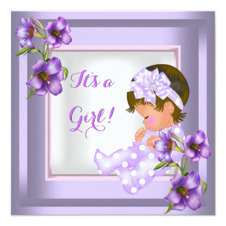 Pretty Baby Shower Cute Baby Girl Purple Floral Card