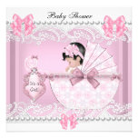 Pretty Baby Shower Cute Girl Pink Vintage Custom Announcements