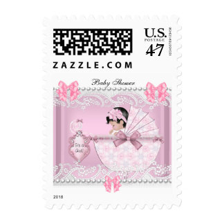 Pretty Baby Shower Cute Girl Pink Vintage Postage