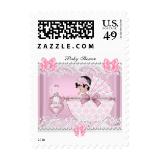 Pretty Baby Shower Cute Girl Pink Vintage Postage Stamps