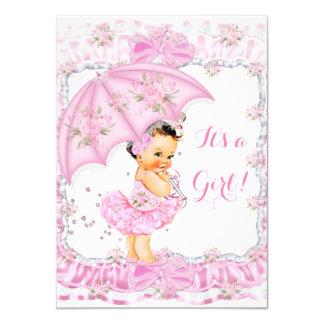 Pretty Baby Shower Girl Floral Pink Brunette Card