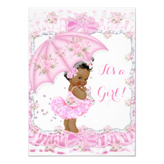 Pretty Baby Shower Girl Floral Pink Ethnic Card