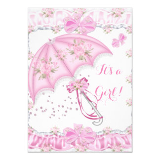 Pretty Baby Shower Girl Floral Pink Umbrella Card