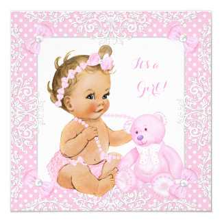 Pretty Baby Shower Girl Lace Pink Bear Blonde Baby Card