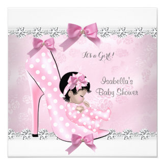 Pretty Baby Shower Girl Pink Diamond High Heel D 5.25x5.25 Square Paper Invitation Card