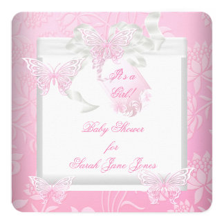 Pretty Baby Shower Girl Pink White Butterfly 5.25x5.25 Square Paper Invitation Card