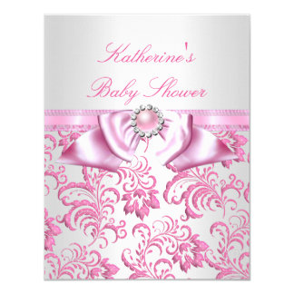 Pretty Baby Shower Girl Pink White Damask 4.25x5.5 Paper Invitation Card