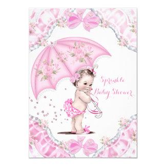 Pretty Baby Shower Pink Umbrella Girl Flowers Card