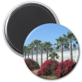 Pretty Baja California Palm Trees and Flowers 2 Inch Round Magnet