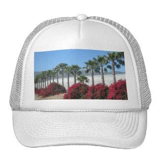 Pretty Baja California Palm Trees and Flowers Trucker Hat