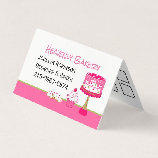 Pretty bakery loyalty folded business card zazzle pretty bakery loyalty folded business card reheart Images