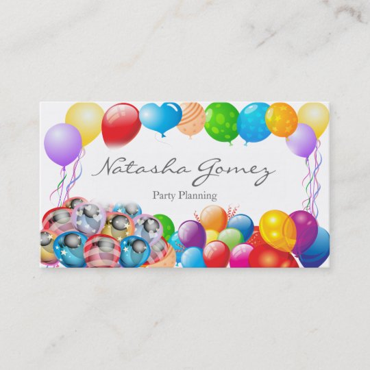 Pretty balloon party planner business card zazzle pretty balloon party planner business card colourmoves