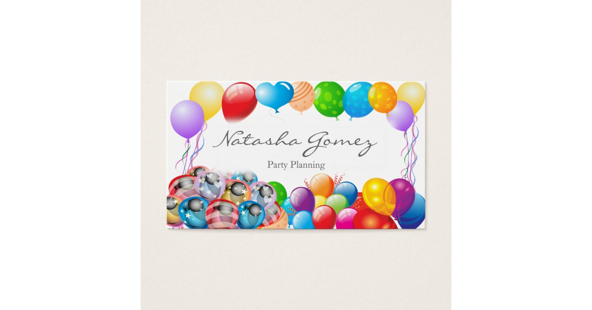 Pretty Balloon, Party Planner - Business Card | Zazzle.com