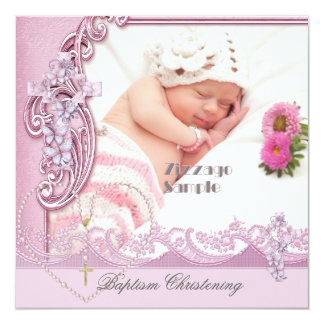 Pretty Baptism Pink Girl Photo Butterfly Lace Card