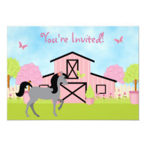 Pretty Barn Horse Birthday Party Invitations