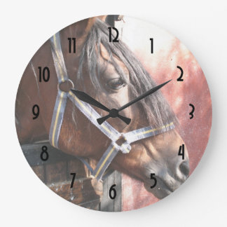 Pretty Bay Horse in a Sunlit Stable Large Clock
