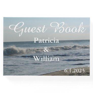 Beach Themed Pretty Beach Sand Blue Sky Wedding Guest Book
