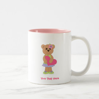Pretty Bear (personalized) Two-Tone Coffee Mug