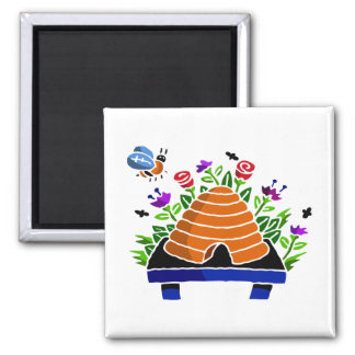 Pretty Beehive and Flowers Scene Refrigerator Magnets