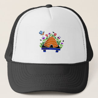 Pretty Beehive and Flowers Scene Trucker Hat