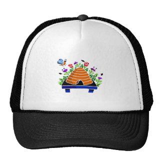 Pretty Beehive and Flowers Scene Trucker Hat