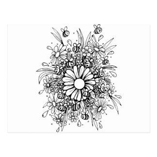 Pretty bees design postcard