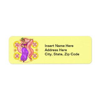 Pretty Belly Dancing Girl Return Address Labels