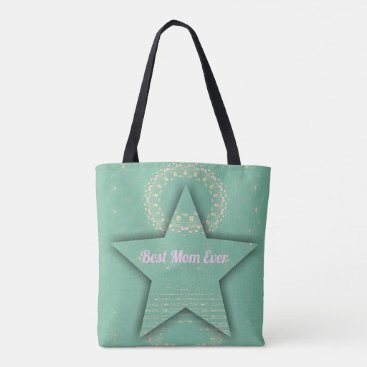 "Beach Themed Pretty ""Best Mom Ever""  Dimensional  Star Shape Tote Bag"