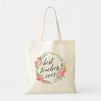 Pretty Best Teacher Ever Floral Wreath Tote Bag