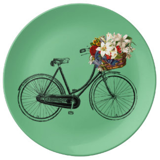 Pretty bicycle flower porcelain plate bike mint