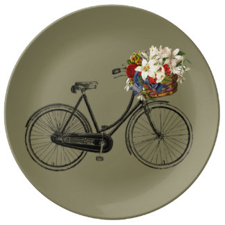 Pretty bicycle flower porcelain plate bike taupe