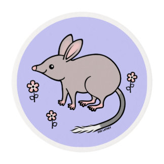 Pretty Bilby with Pink Flowers Edible Frosting Rounds