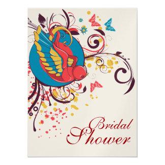 "pretty bird and butterflies art bridal shower 5.5"" x 7.5"" invitation card"