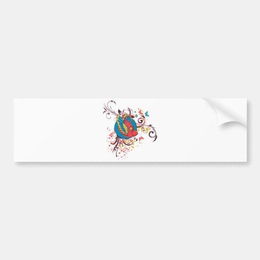 pretty bird and butterflies vector art bumper stickers